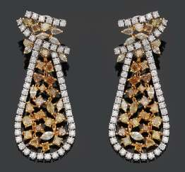 Pair of extravagant drop earrings with Fancy Yellow diamonds