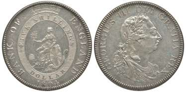 ENGLAND 1 DOLLAR (5 SHILLINGS) 1804 GEORGE III KM Tn1, Spink 3768 silver 10-016-47