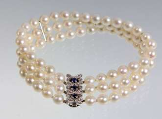 three-row Akoya pearl bracelet