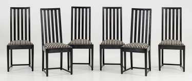 Set of six Secession dining room chairs
