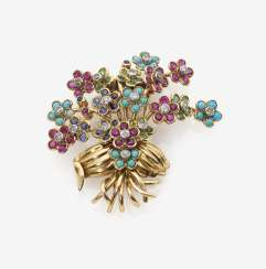 Dress clip in the shape of a flower bouquet with Colour gemstones and diamonds