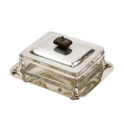 ENGLISH butter dish with glass insert, silver plated, 20. Century