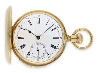 Pocket watch: early and very fine Patek Philippe, gold savonnette with quarter-hour Repetition, the former aristocratic, No. 47800, Geneva, 1875