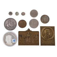 Medals, plaques and coins - mixed lot, among other things,