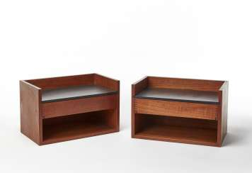 Two hanging bedside tables with one drawer and an open compartment variant of the model