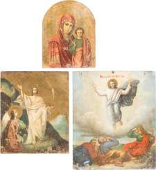 THREE ICONS: TWO DOUBLE-SIDED ICONS WITH THE MOTHER OF GOD OF KAZAN AND THE RESURRECTION AND THE ICON WITH THE TRANSFIGURATION OF CHRIST