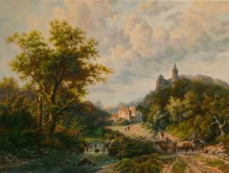 landscape with a castle and travellers