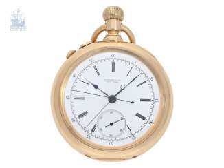 Pocket watch: very serious, very rare Patek Philippe split-seconds chronograph 1893, Anchor chronometer, delivered to Tiffany & co. New York