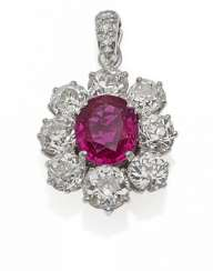RUBY-DIAMOND PENDANT. Germany, around 1960