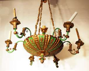 6 light chandelier, wood carved , bronze mounts, painted 19. century