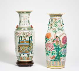 Two large vases with antiques and calligraphy or a pair of phoenixes in peonies
