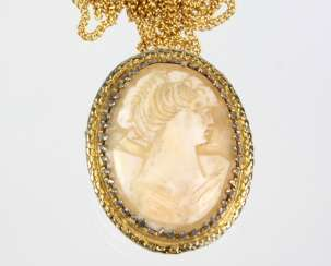 antique shell cameo pendant on chain
