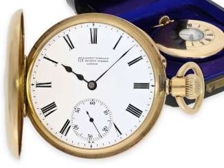 Pocket watch: exquisite Vacheron & Constantin half savonnette of very fine quality, made for Goldsmith Company London with original box, approx. 1870