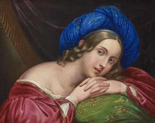 France, around 1830. Portrait of a young lady with blue Turban (the singer Henriette Sontag?)