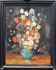 Jan Brueghel the Younger (1601-1678)-school, Large flower still life with insects in a Chinese Wan Li vase on a plinth, in front of black background