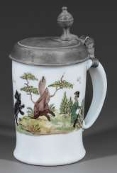 Rare small milk glass tankards with bear-hunting