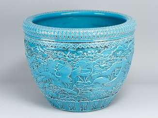 Theodore Deck (1823-1891)large ceramic pot with rich asian relief ornaments