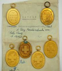 Bavaria: Red Cross, commemorative medal of the regional association (1914-1918) - 6 copies.