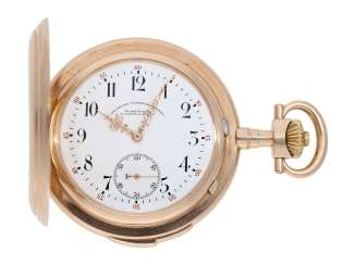 Pocket watch: heavy and extra-large red-gold Savonnette with quarter-hour repeater A. Lange & Söhne No. 54381, Glashütte 1906