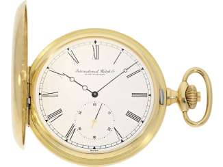 Pocket watch: extremely heavy, large, 18K Gold half-savonnette of the brand IWC, Ref. 5411/5409, with original warranty certificate and master excerpt from the book, from the year 1980