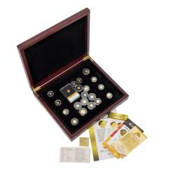 Mini gold coins and medals in a precious wood box -