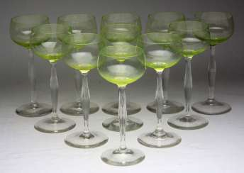 Set of art Nouveau style wine glasses circa 1910