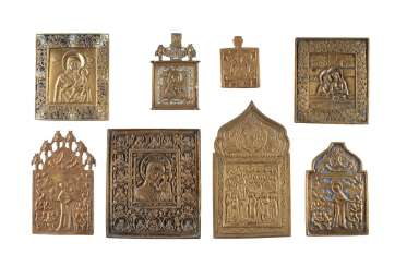 EIGHT BRONZE ICONS WITH REPRESENTATIONS OF THE MOTHER OF GOD Russia