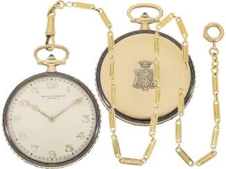 Pocket watch: fine Gold/enamel-Frackuhr with sapphire stocking, the finest of Art Deco Jewellery with matching watch chain, sold by Baume & Mercier, Geneve, CA. 1930