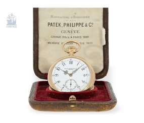 Pocket watch: very fine and rare Patek Philippe pocket watch with a rare 5-minutes-repeater Box, No. 90778, Geneva, CA. 1892