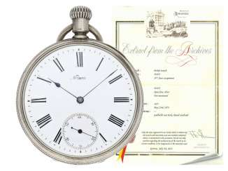 Pocket watch: unusual, very early Patek Philippe Anker chronometer with rare 2/3-Board, Geneva, 1877, with the master excerpt from the book