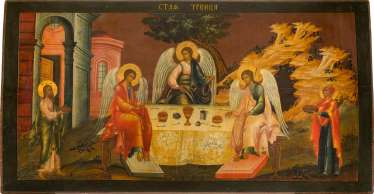 A MONUMENTAL ICON WITH THE HOLY TRINITY OF THE OLD TESTAMENT FROM A CHURCH ICONOSTASIS Central Russia