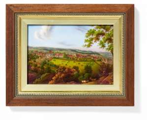 Image plate with view of forest, castle