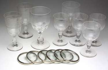 Goblet glasses with coasters