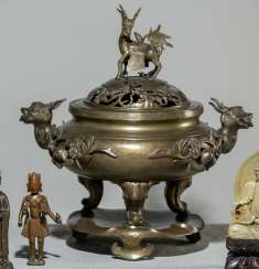 Large incense burner in Bronze with dragon handles, on Stand