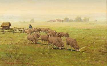 Hiller-Baumann, Leonore: flock of sheep on the