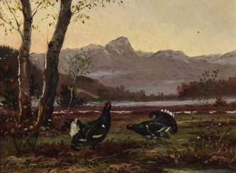 Capercaillie in mountain landscape , Recknagel, Otto 1845 Eisfeld - 1926 Munich