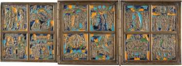 RARE BRONZE TRIPTYCH WITH TWELVE GREAT FEASTS OF THE ORTHODOX CHURCH