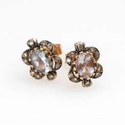 Stud earrings pair with aquamarine and Brilla