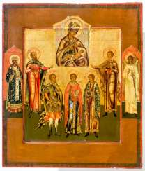 Rare icon of the mother of God Balykinskaja with the five Holy martyrs of Sebaste, Mardarius, Eustratius, Auxentius, Eugene, and Orestes