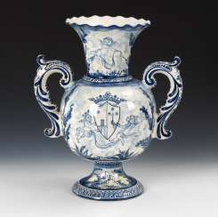 Faience Vase with blue painting.