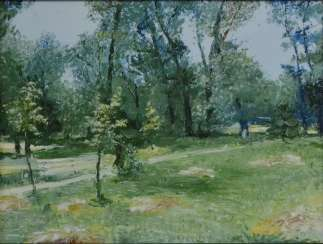Original landscape painting oil on canvas, Hayfield in the park