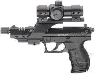 Walther P 22 with red dot sight and silencer, in the case
