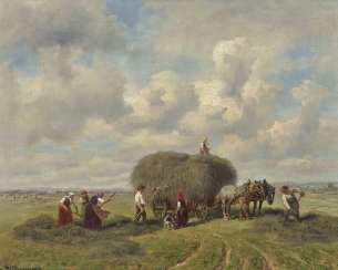 Farmers in the hay harvest