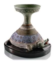 Painted oil Lamp made of clay