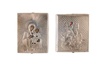 TWO MINIATURE ICONS WITH SILVER OKLAD, IN THE ORIGINAL CASE: THE MOTHER OF GOD OF SMOLENSK AND SAINT GEORGE THE DRAGON SLAYER