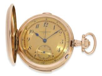 Pocket watch: heavy, very fine red-gold Savonnette minute repeater and Chronograph, Audemars Fils, Geneve, No. 136055, made for the Russian market, CA. 1900
