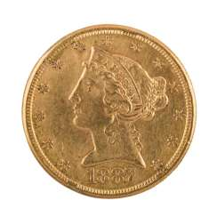 USA/GOLD - 5 Dollars 1887 S Liberty Head,