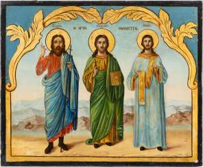 DATED ICON WITH THE SAINTS SAMON