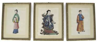 Three framed rice paper paintings with figurative representations