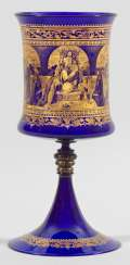 Large trophy vase with gold painting to Veronose